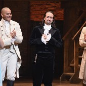 Phillipa Soo, Christopher Jackson, Lin-Manuel Miranda and Anthony Ramos attend Lin-Manuel Miranda's final performance of 'Hamilton' on Broadway at Richard Rodgers Theatre on July 9, 2016