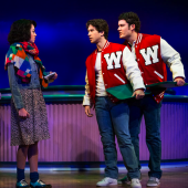 Barrett Wilbert Weed, Evan Todd and Jon Eidson in 'Heathers: The Musical' at New World Stages