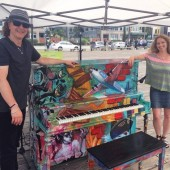 Piano by artist Heather Stadler at Pier 62/63 in Seattle